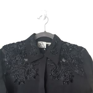 Vintage Black Beaded Button Down